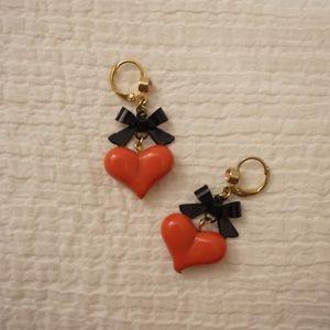 Betsy Johnson Bow and Heart Earrings